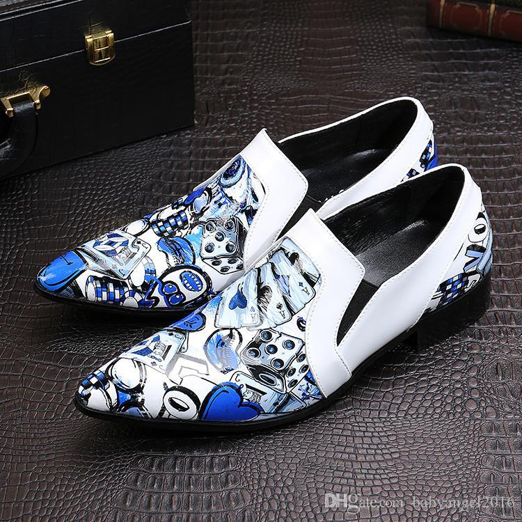 928bd602be1b New Classic Italy Style CARDS Pattern Printing White Men Loafers Wedding  Party Men Dress Shoes Fashion Men s Flats Oxford Shoes Shoes Men Shoes  Online with ...