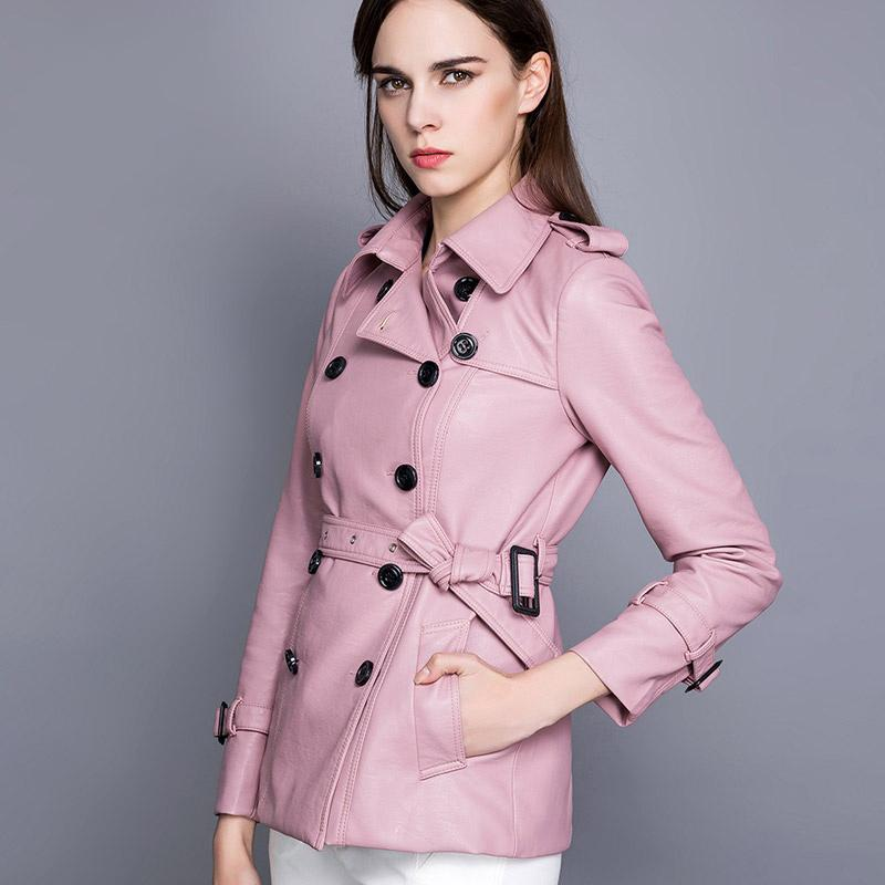 2016 Autumn New Pu Leather Clothing Girls Long Coat Korean Pink ...