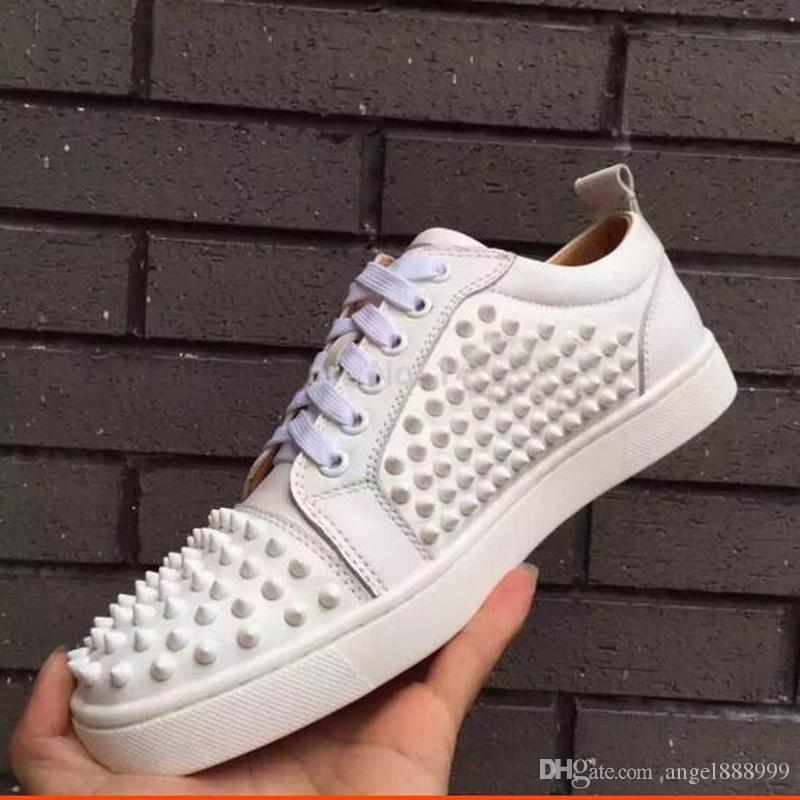 854876dc4e0 Spring Autumn New Rivets Red Bottom Sneakers,Designer Brand Low Up Men and  Women Red Sole Suede Leather Couple Shoes size 35-46