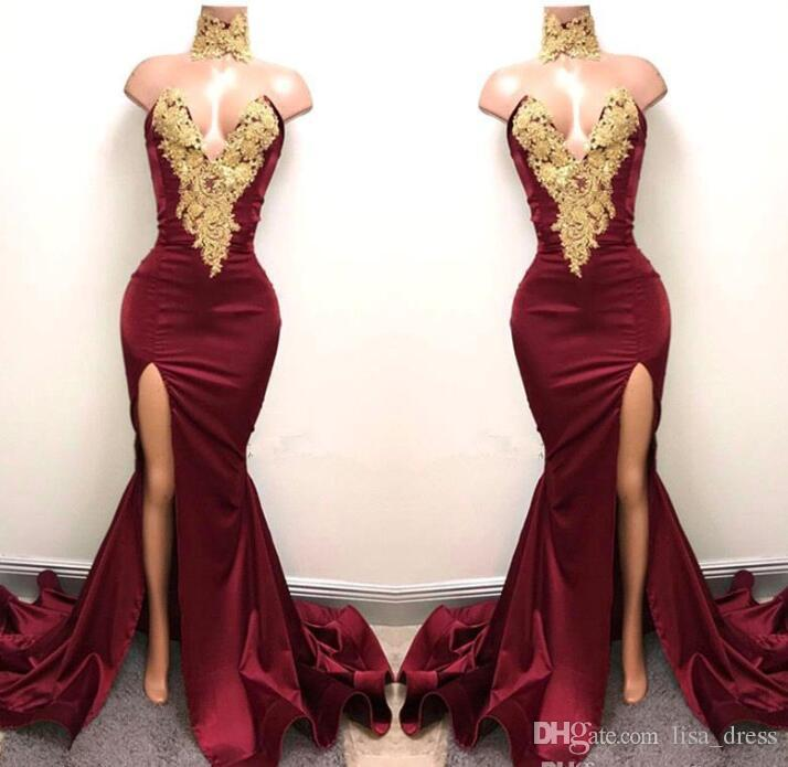New Design 2K18 Sexy Burgundy Prom Dresses With Gold Lace Appliqued Mermaid  Front Split For 2017 Long Party Evening Wear Gowns Formal Dresses Plus Size  ... 2c13902ea893