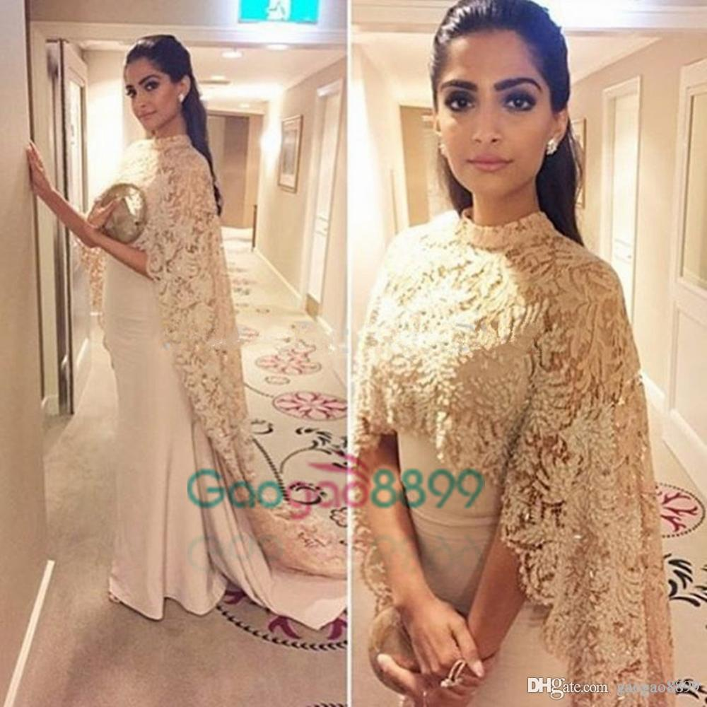 Sonam Kapoor in Paolo Sebastian High Neck Dubai Kaftan nude Lace Cape Muslim Evening Dress 2019 Islamic Arabic long sleeve prom Formal Gown