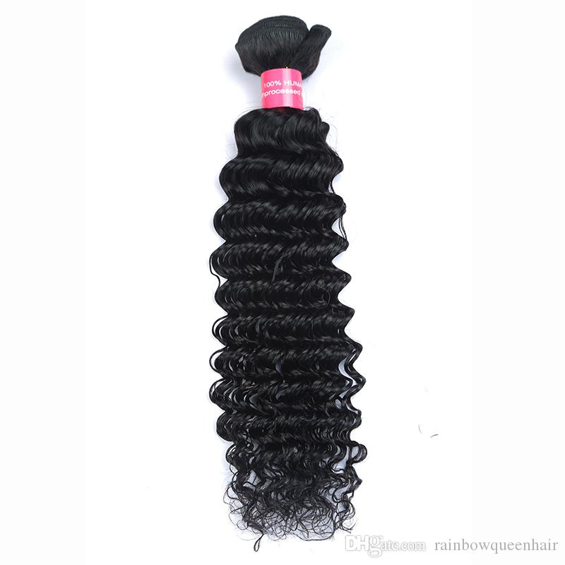 8A Unprocessed Brazilian virgin bundles Deep Wave Curly Hair Weft 3/Human Hair Peruvian Indian Malaysian Hair Extensions Dyeable