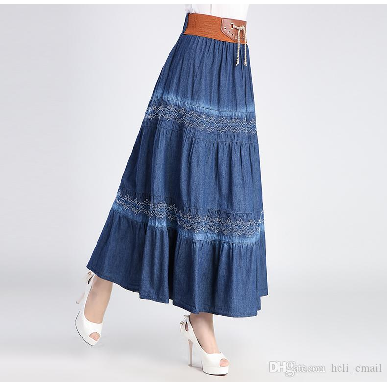 32c421931dd98 2019 2017 New Bohemia BOHO Fashion Casual Sweet Cute Pleated Jeans Maxi  Skirt / Gypsy Spani Denim Long Skirt For Womens From Heli_email, $30.16 |  DHgate.Com