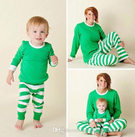 Kinder Erwachsene Familie Weihnachten Pyjamas set 2017 neue Deer Striped Nightwear bettwäschesleeve nighty 3 farben für wählen