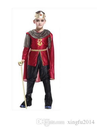 M ~ XL Новый 2017 Римский Воин Рыцарь Дети Косплей Hallowean Карнавал Партия Мальчик Принц Король Детские Костюмы Маскарадный Костюм