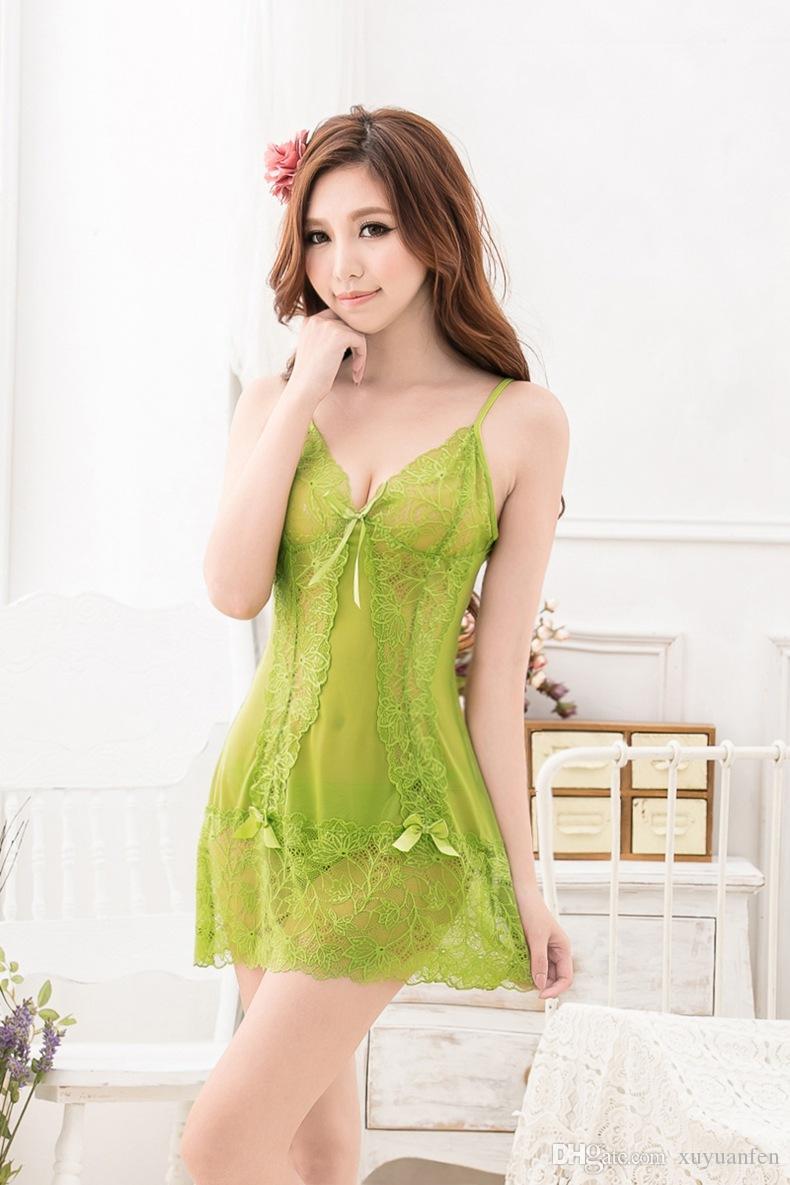 Hot Newest Lace Sexy Lingerie Trajes das Mulheres Cueca Camisola Profundo V Transparente Camisola G-string Sleepwear
