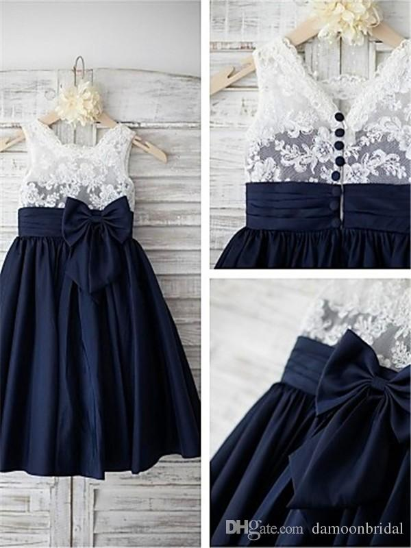 Navy blue satin white lace flower girls dresses lovely children navy blue satin white lace flower girls dresses lovely children dresses tea length pleated skirts kids formal wear with bow front dress for girl dresses mightylinksfo