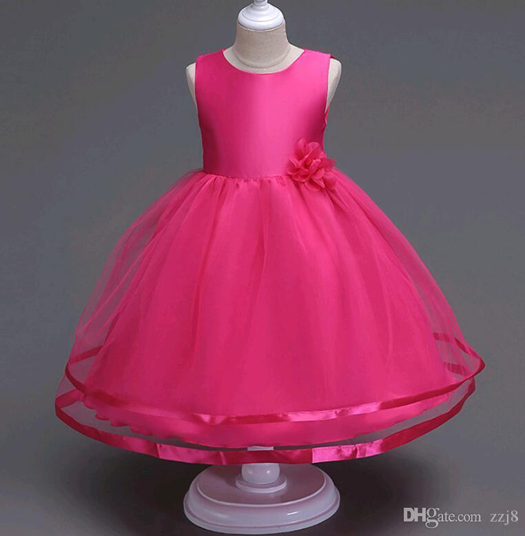 a53e1bf3fb70 Simple Girls Wedding Princess Dress Beaded Flower Solid Color Mesh Mid Calf  Length Dresses for Kids size 3-14 years