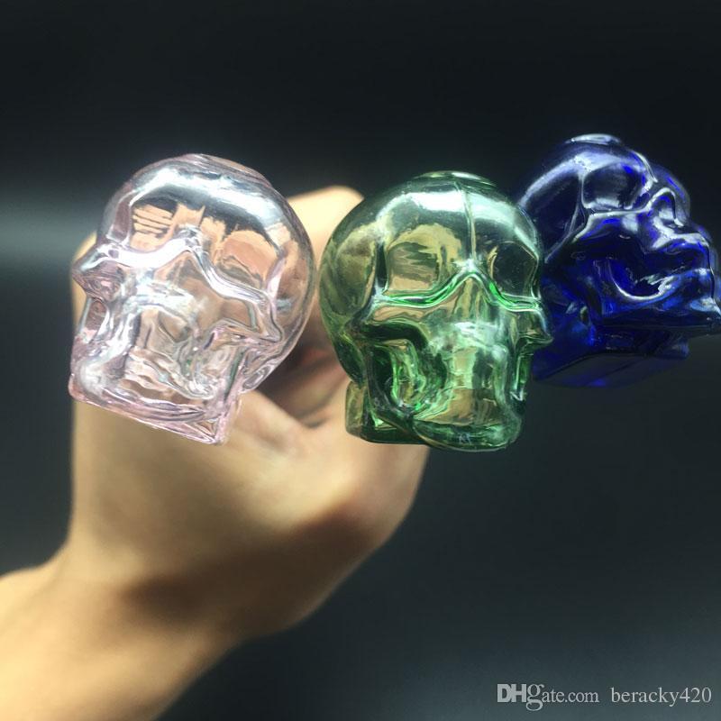 새로운 디자인 유리 핸들 파이프 해골 유리 그릇 오일 버너 파란색 / 녹색 / 명확한 / 분홍색 clolors 유리 오일 버너 흡연 액세서리