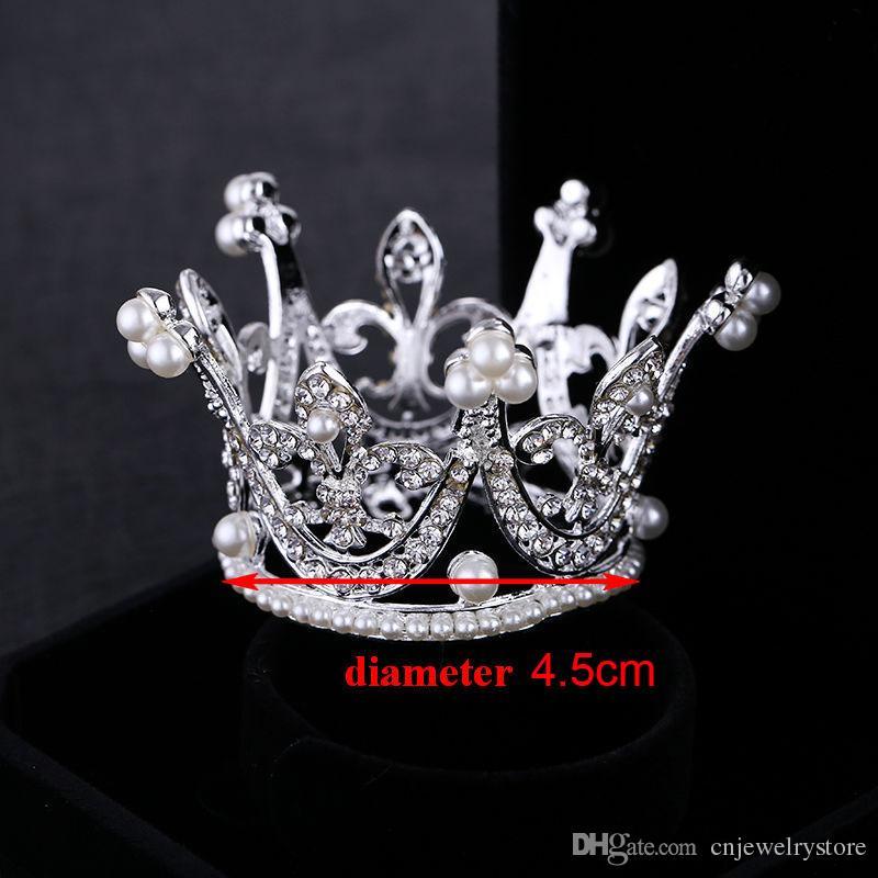 Kinder Blumenmädchen Baby Voller Kristall Kreis Runde Mini Tiara Krone Perle Krone Kind Braut Prinzessin Strass Perle Tiara
