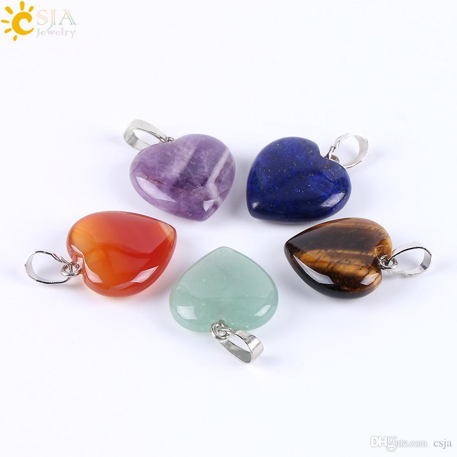 CSJA Women Valentine's Day Jewelry Gift Love Heart Collection Necklace Pendant Real Gemstone Pink White Purple Crystal Natural Agate E594 A