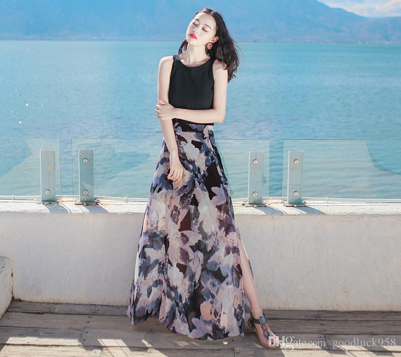 8d12004e53e74 Satın Al Yeni Yazlık Elbise Şifon Etek Yarık Boyutu Ince Sahil Plaj Etek  Elbise Bohemia, $35.41 | DHgate.Com'da