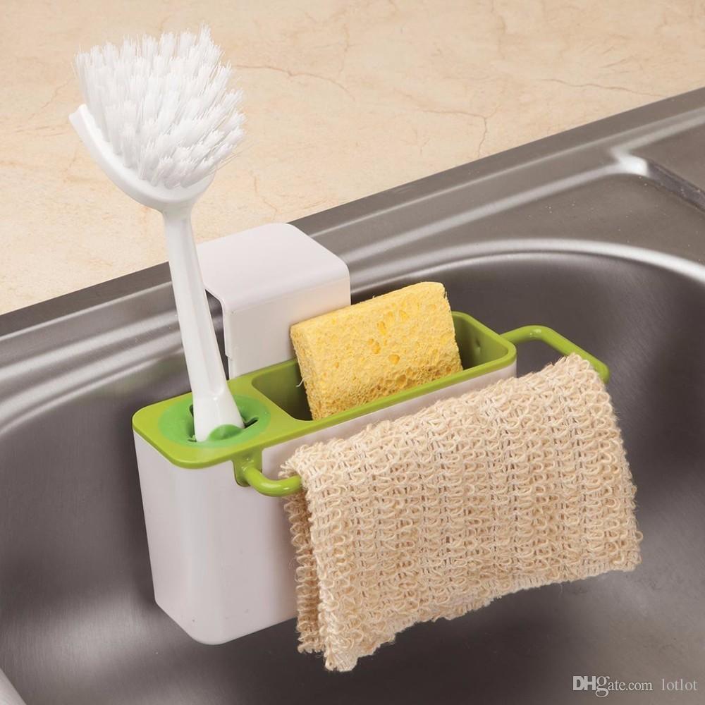 Küche Storage Organizer Rack Soap Schwamm Bürstenhalter Waschbecken Caddy Cabinet Suspension Typ