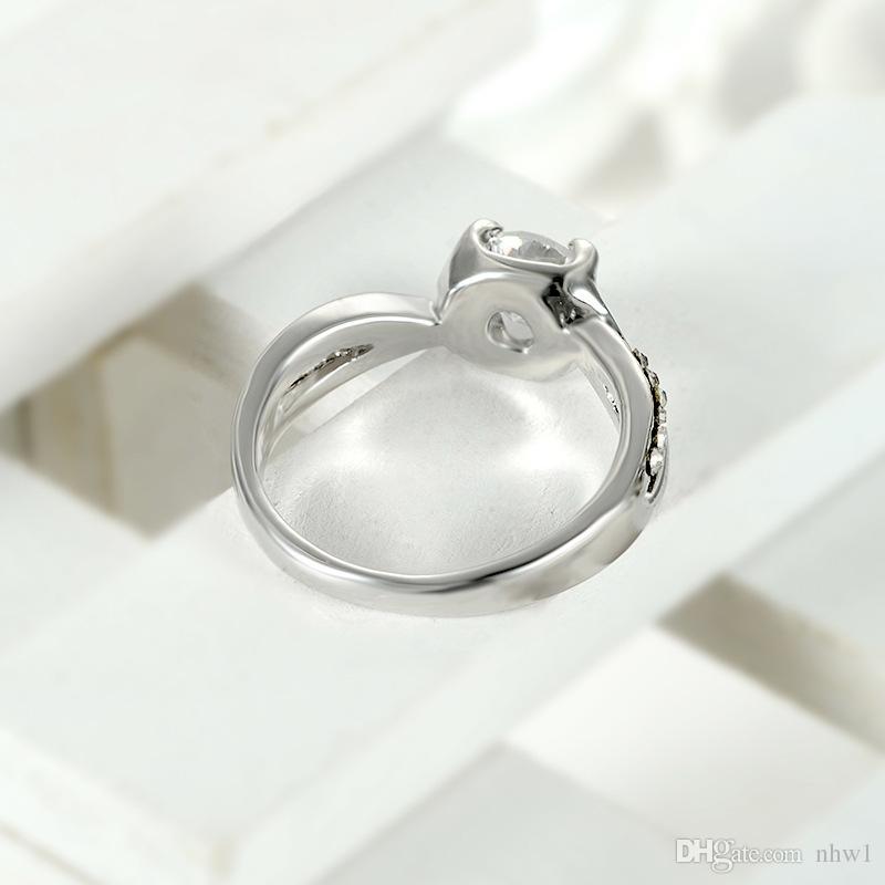 Preço de fábrica moda cristal zircão anéis para mulheres senhora meninas europa creative liga anéis presente prata rosa ouro