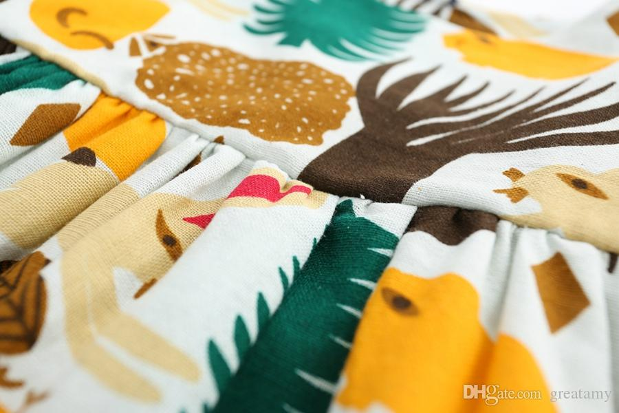 2017 baby mädchen prinzessin kleid baumwolle waldtiere druck kleider Kinder Kleidung 2 farben top qualität