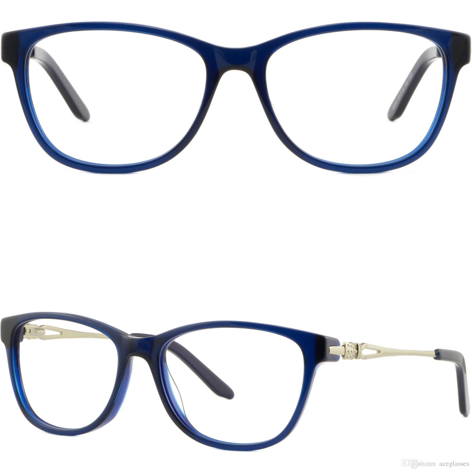 cb0c1cd8d56 Womens Acetate Frames Spring Hinges Metal Arms RX Prescription Glasses Navy  Blue Theo Eyeglass Frames Top Eyeglass Frames From Aceglasses