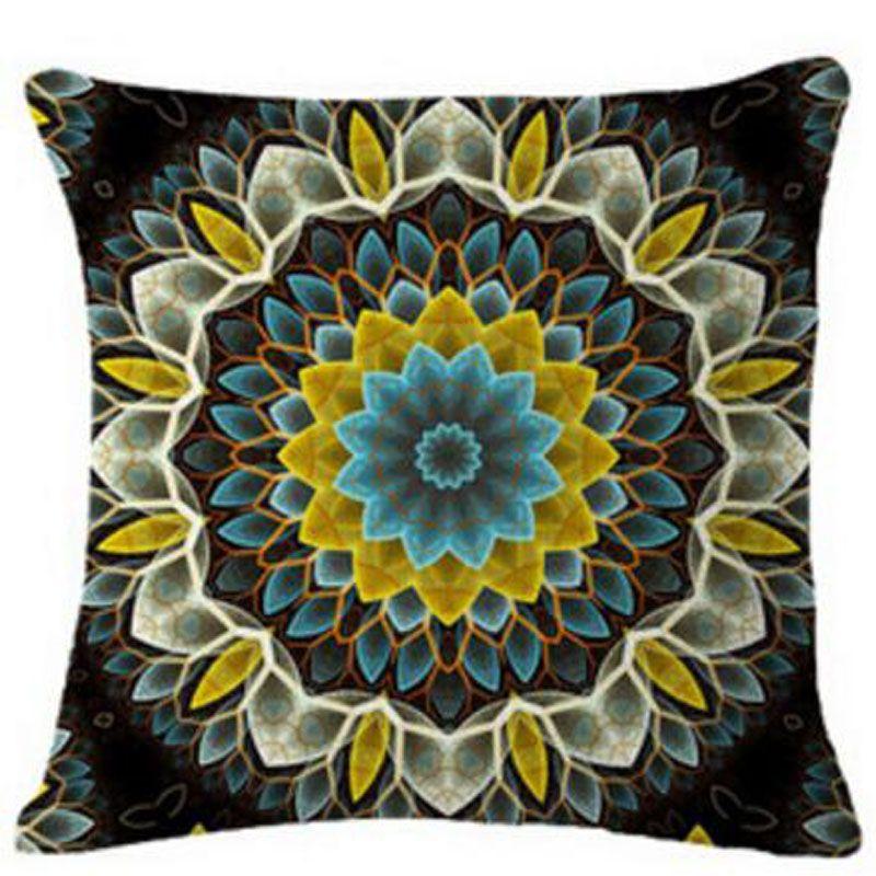 친환경 보헤미안 만다라 원형 패턴 꽃 코튼 리넨 인쇄는 베개 새로운 홈 인테리어 소파로 돌아 가기 쿠션 허리 베개를 던져