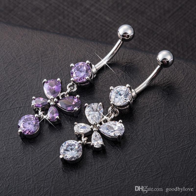 18K White Gold Plated White/Purple Cubic Zirconia CZ Butterfly Animal Body Jewelry Piercing Navel Ring Party Gift for Women