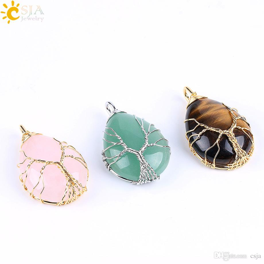 CSJA Gold & Silver Wire Wrap Tree of Life Jewelry Pink Crystal Tiger Eye Green Aventurine Natural Stone Necklace Water Drop Pendant E585 A