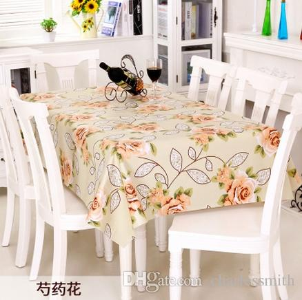 pastoral floral print table cloth pvc tablecloths wedding decoration waterproof oilproof rectangular table cover new year gift wedding linens for sale