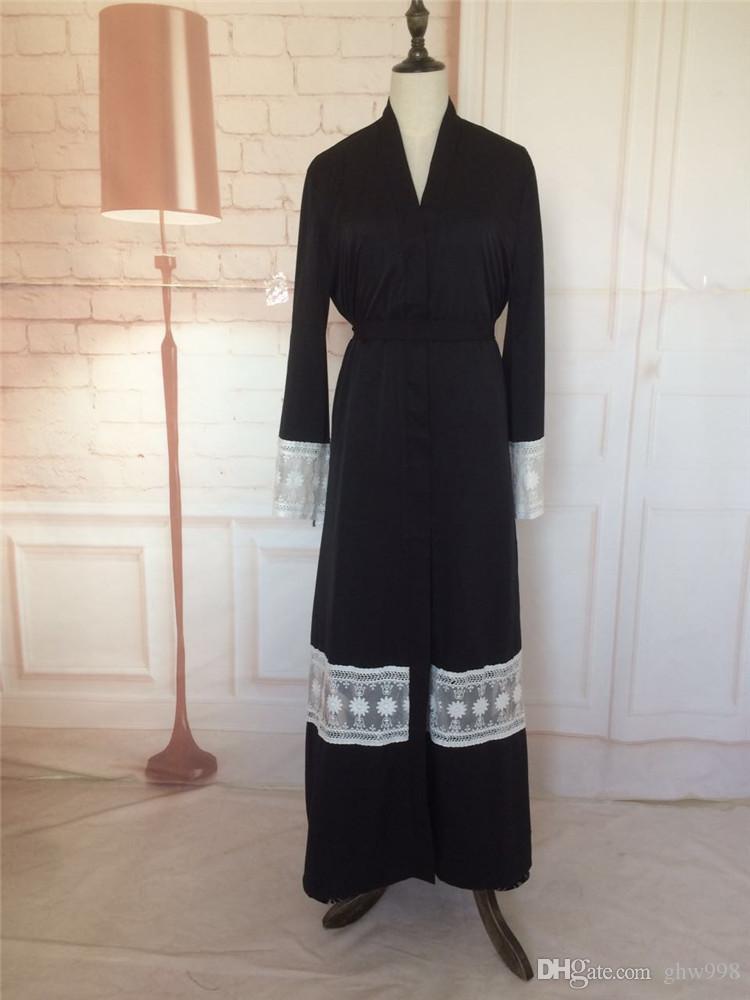 abra el vestido musulmán abaya de encaje juntando túnicas musulmanas de rebeca de alto grado