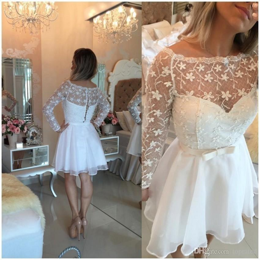 Elegant White Long Sleeve Cocktail Dresses Bateau Neck A-Line Sash Chiffon Lace Short Party Prom Dress Gowns for 8th Junior Homecoming 2017