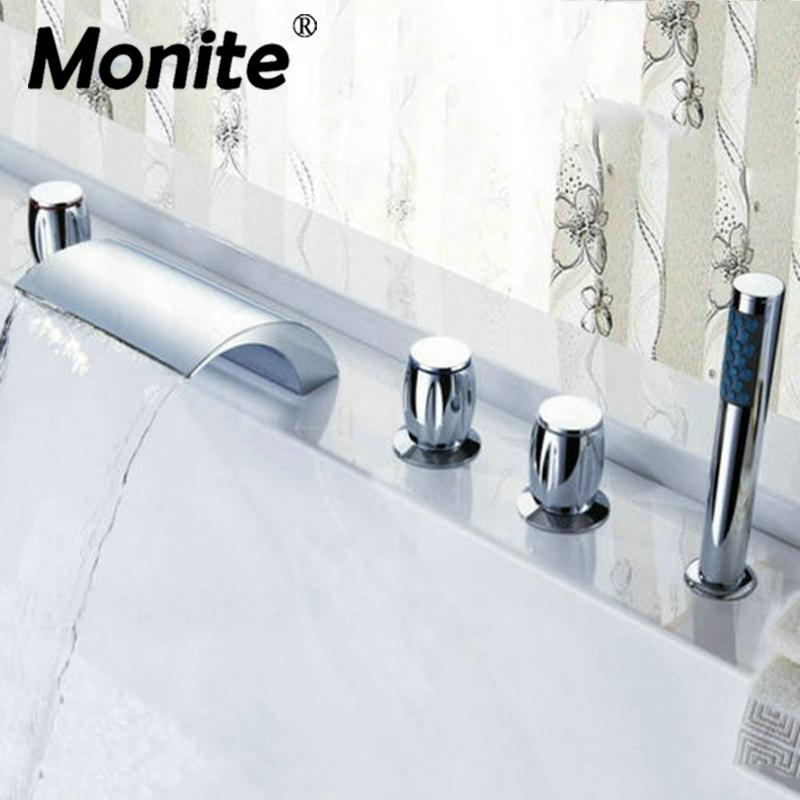 Waterfall Bathroom Basin Faucet Deck Mounted Washbasin Bathroom Tap ...