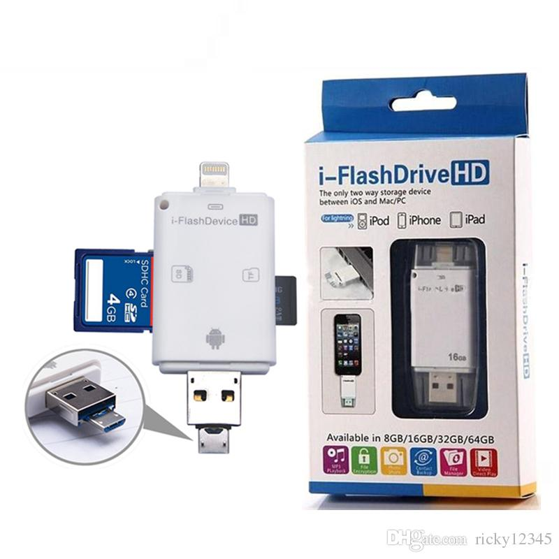 3 in 1 iFlash Drive USB 3 0 Micro SD TF OTG Card Reader for iPhone 7 6s 6  samsung s7 s6 PC