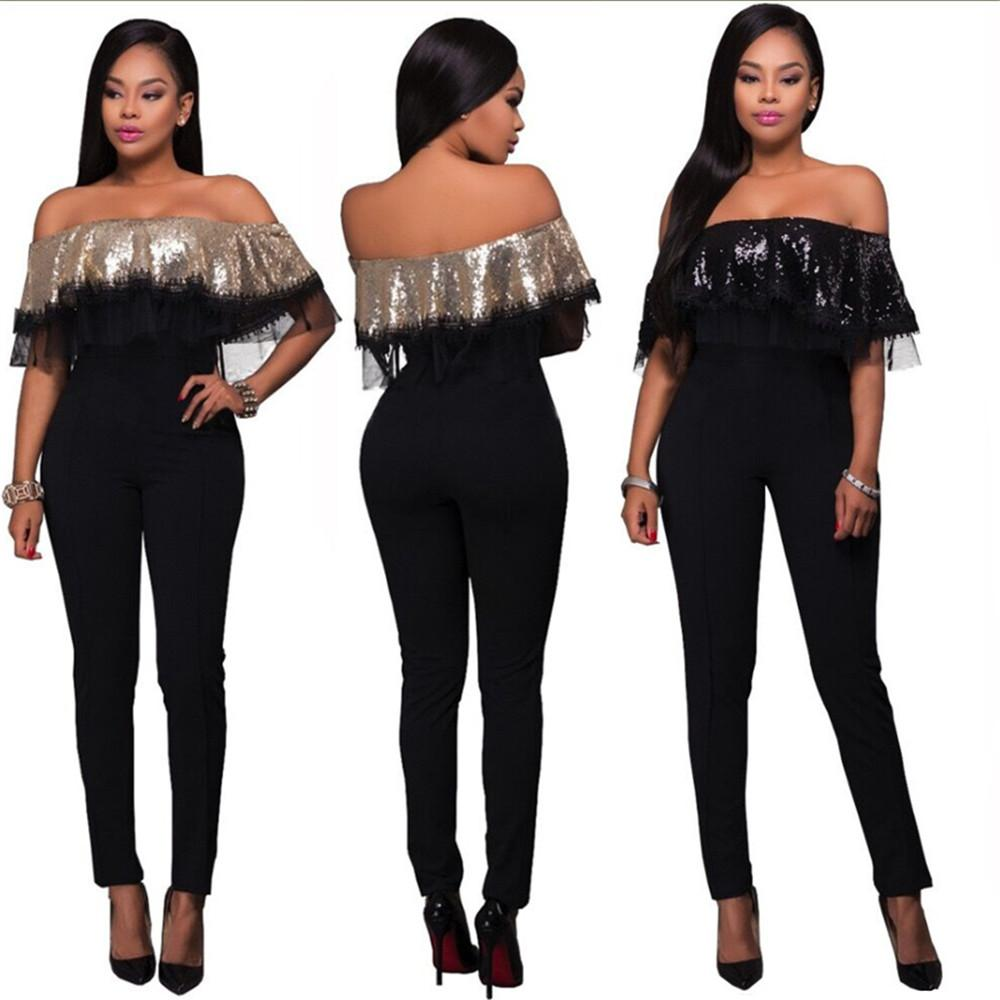 0d090bf90162 2019 Wholesale Women Black Apricot Patchwork Sequin Club Jumpsuits Off  Shoulder Ruffles Bodycon Sexy Party Night Out Rompers Femme From Tuhua