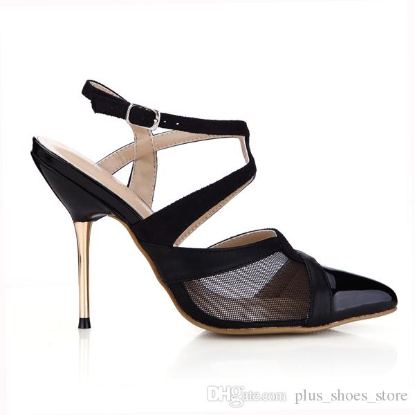 2017 Black Women Dress Shoes Pumps Real Image Ladies Party Shoes Metal Heels Buckle Strap Pointed Toe Sexy Party Shoes Hot Sale