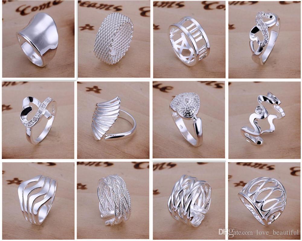 Nuovo arriva 925 gioielli in argento 50 stile lotto Charming donne ragazze finge anelli multi stili anelli Mix mix ordine ordine Vendita calda