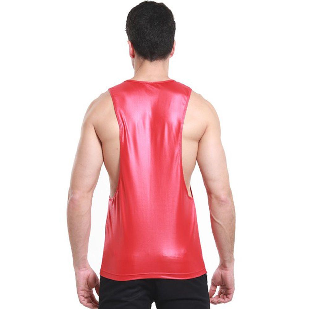 Bequeme Rot Schwarz Farbe Tank Tops Männer Kunstleder Singlet T-shirt Boxer Sleeveless Tief Armloch Weste