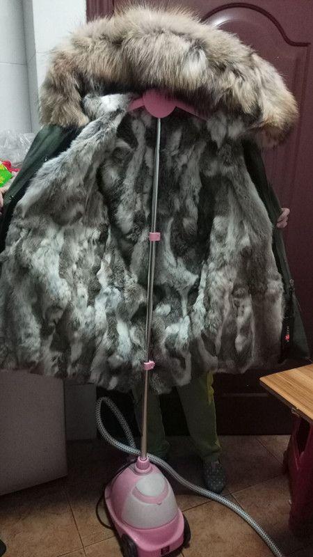 Marchio Jazzevar Finiture in pelliccia Lavish Brown Khaki white Pelliccia di coniglio foderato verde militare in tela di cotone parka lungo cappotti di pelliccia di neve donne inverno parka
