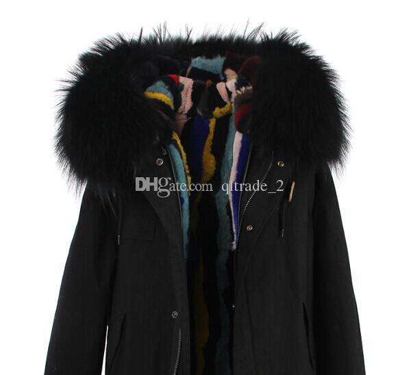 JAZZEVAR Marca freddo invernale parka pelliccia pellicce disposizione nera multicolore pelliccia di coniglio erba foderato tela cappotti neri mini parka vera pelliccia di coniglio foderato