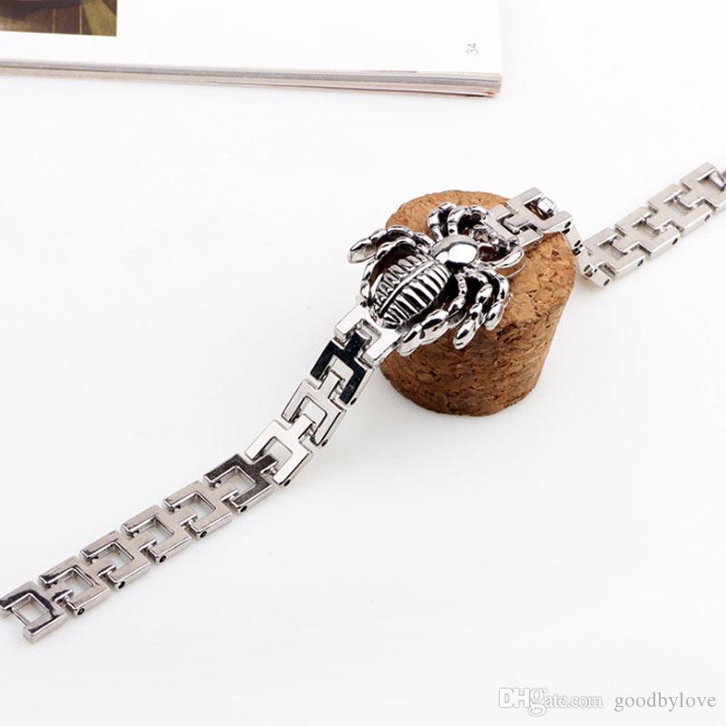 Neue Mode Herren Schmuck Titan Stahl Öl Tropf Spinne Tier 19 cm Kette Armbänder Armreifen für Jungen Freund Festliche Heiße Geschenk