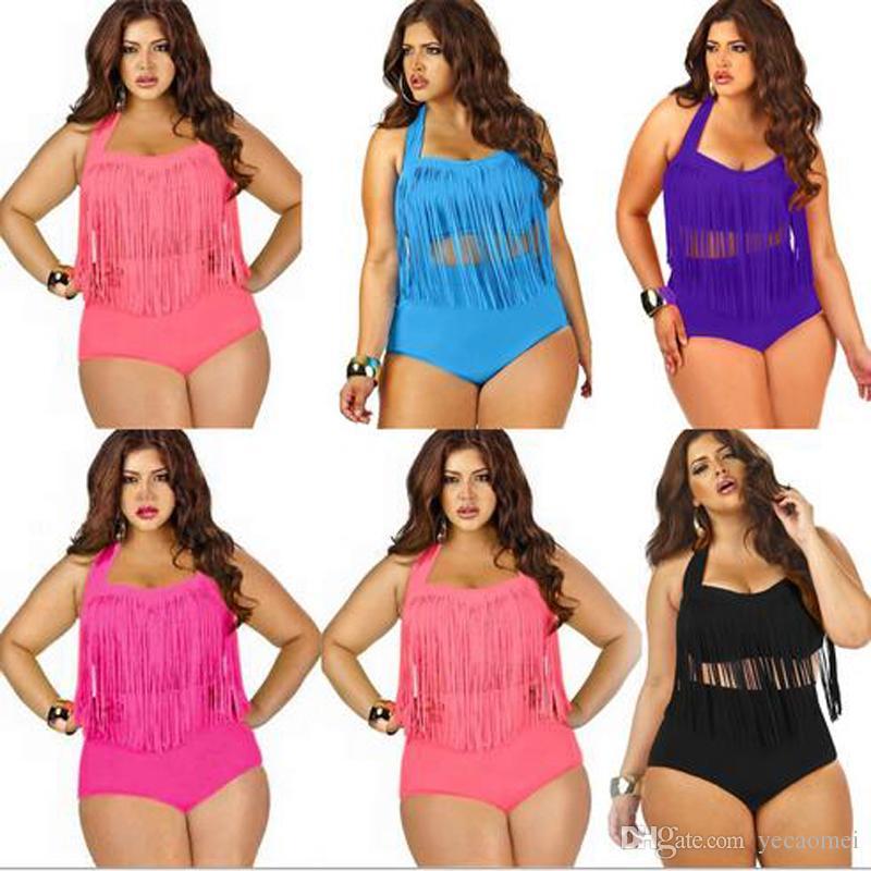 35e6dead0c684 2019 Summer Bikini Plus Size One Piece Tassels Swimwear Sexy V Neck Women  Swimsuit Padded Boho Fringe Big Size Bathing Suit With High Quality From  Yecaomei