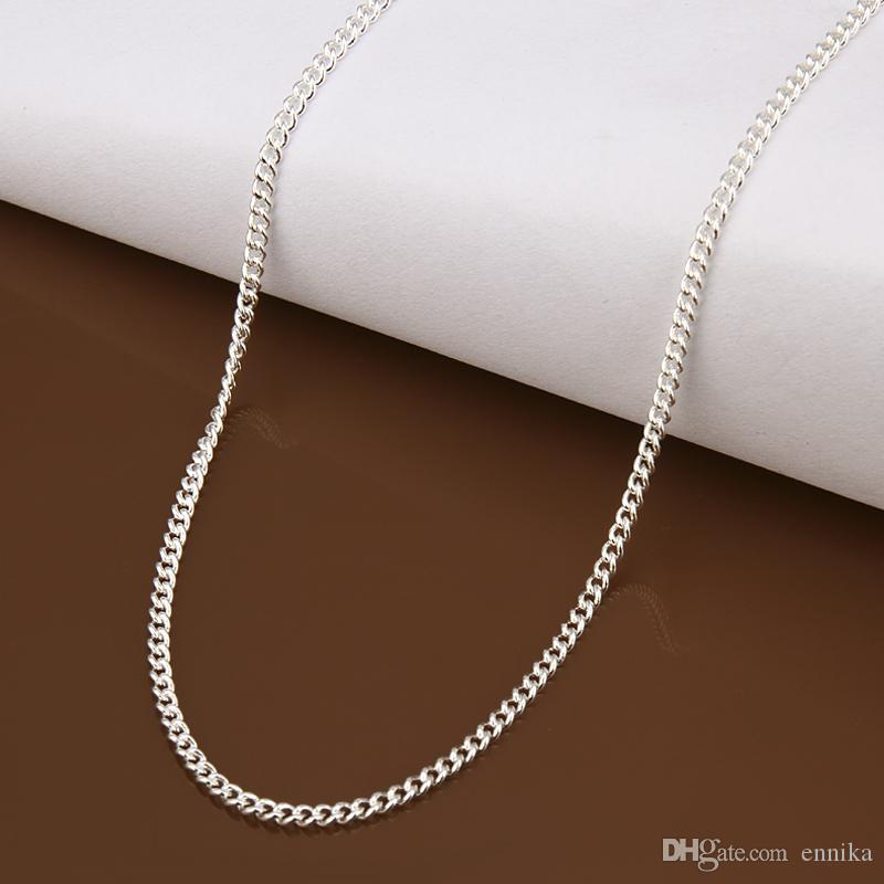 New Arrived Concise 925 Silver Figaro Cahins Curb Neckalce 24inch 2mm , Top Sale Silver Men's Necklaces c015