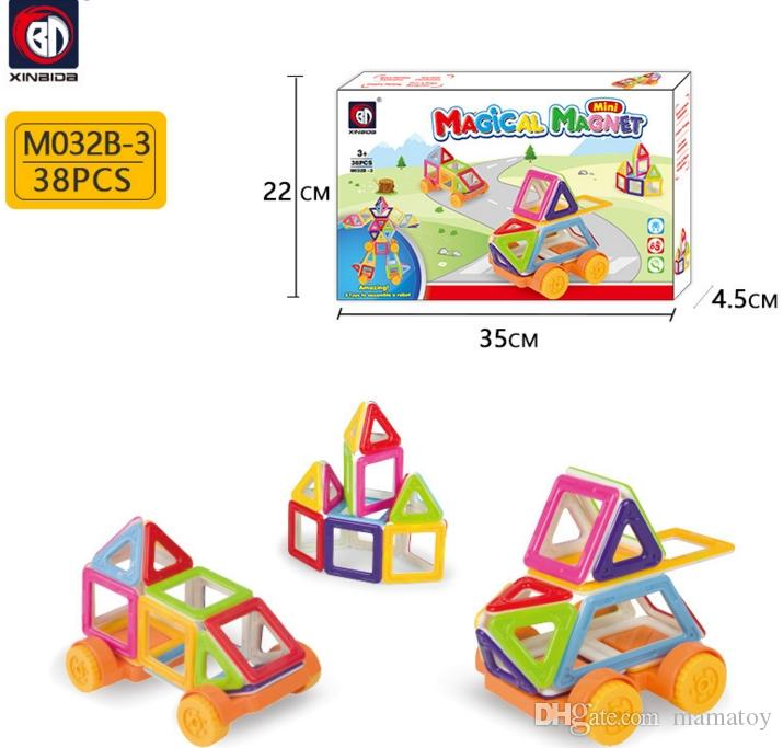 M032B Magnetic Blocks Building Puzzle Rainbow colors Magnet Block Toys for kids Vehicle set Creater Carnival Set Christmas Gift