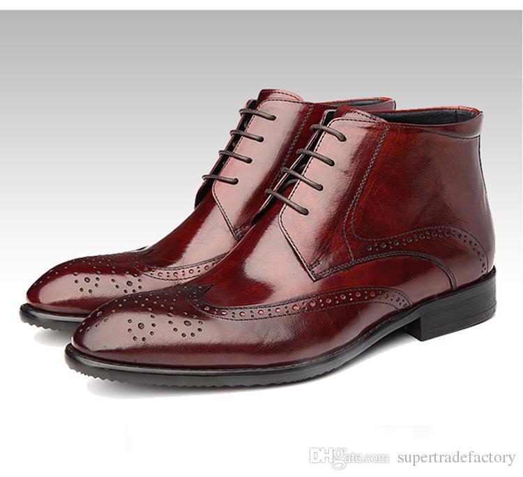 1f0fe86d8fab1 Compre Moda Para Hombre Gneuine Cuero Trabajo Botas Hombres Otoño Invierno  Negocio Casual Botines Hombre Alta Calidad Martin Botas Zapato A  94.48 Del  ...