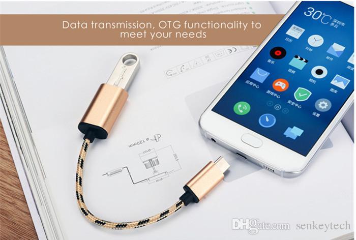 20CM نسيج مضفر النايلون OTG Data Host نوع الكابل C USB-C OTG محول لسامسونج غالاكسي i9300 S3 S4 HTC سوني Xiaomi هواوي هواتف أندرويد