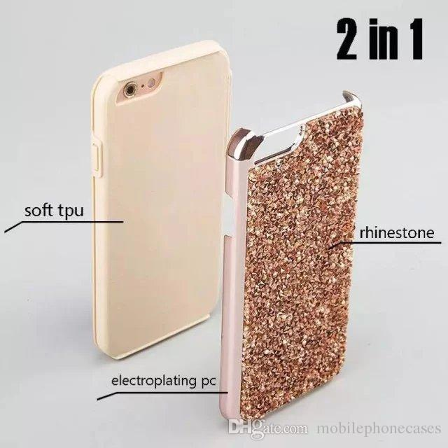 Diamond Rhinestone Bling Back Phone Case For iphone5 6s iphone7 7Plus Heavy duty dual layer case for Galaxy S6 S6edge S7 S7edge case