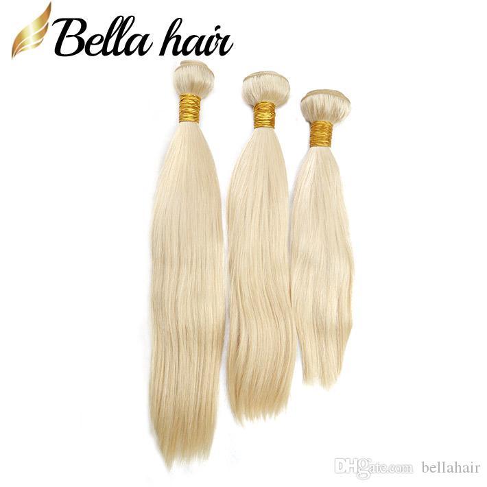 ペルーバージン人間の髪の伸び613ブロンドの髪の束ストレート織り毛織り編み髪のダブル緯ご3本/ロットトップグレードBellahair