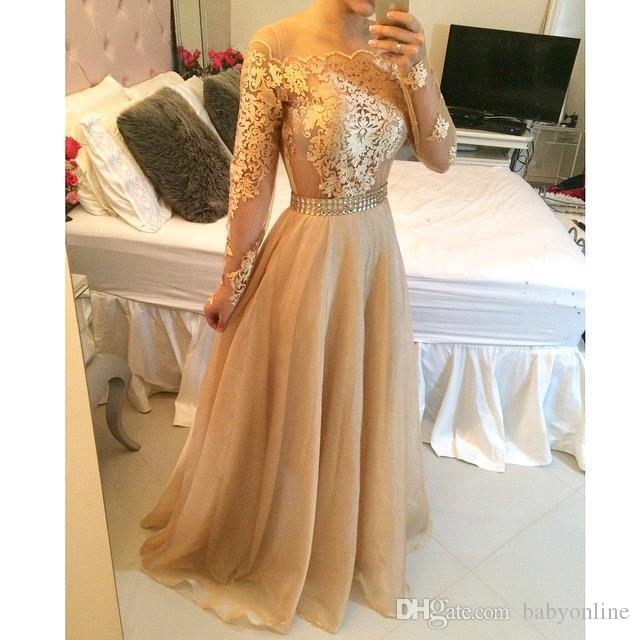 2019 Gold Champagne Sexy Lace Long Sleeves Prom Dresses Bateau Pearls Waist Long Lace Appliques Organza Vestidos Evening Dresses BO7979