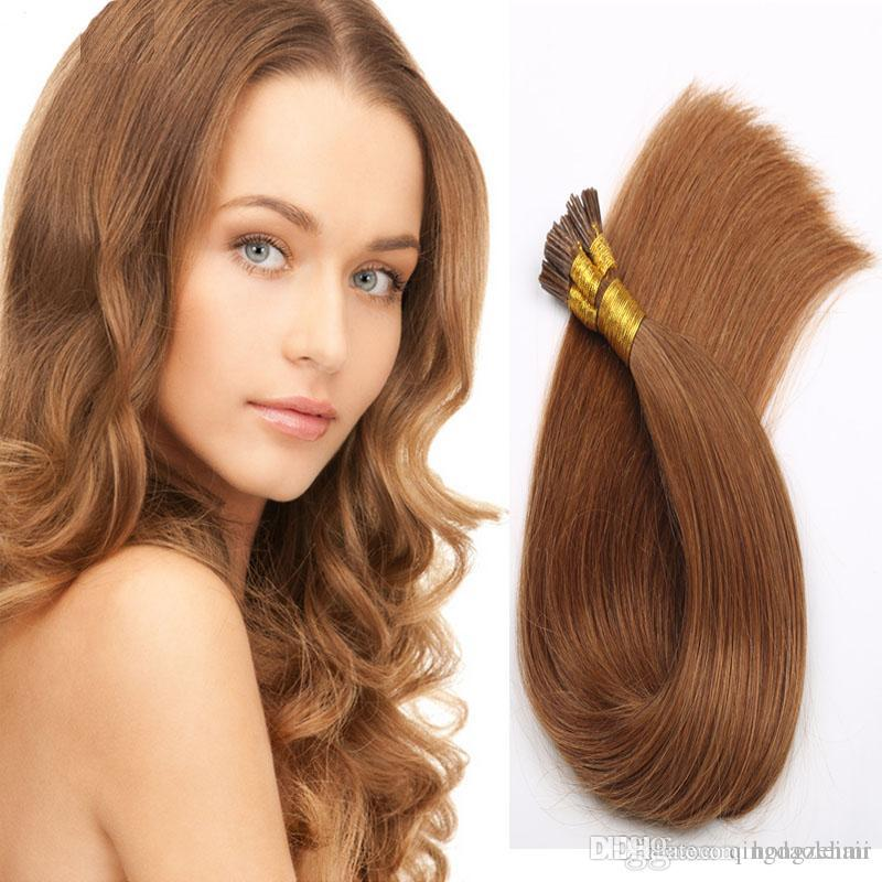 I Tip Pre Bonded Straight Brazilian Hair Extensions Stick Tip Human