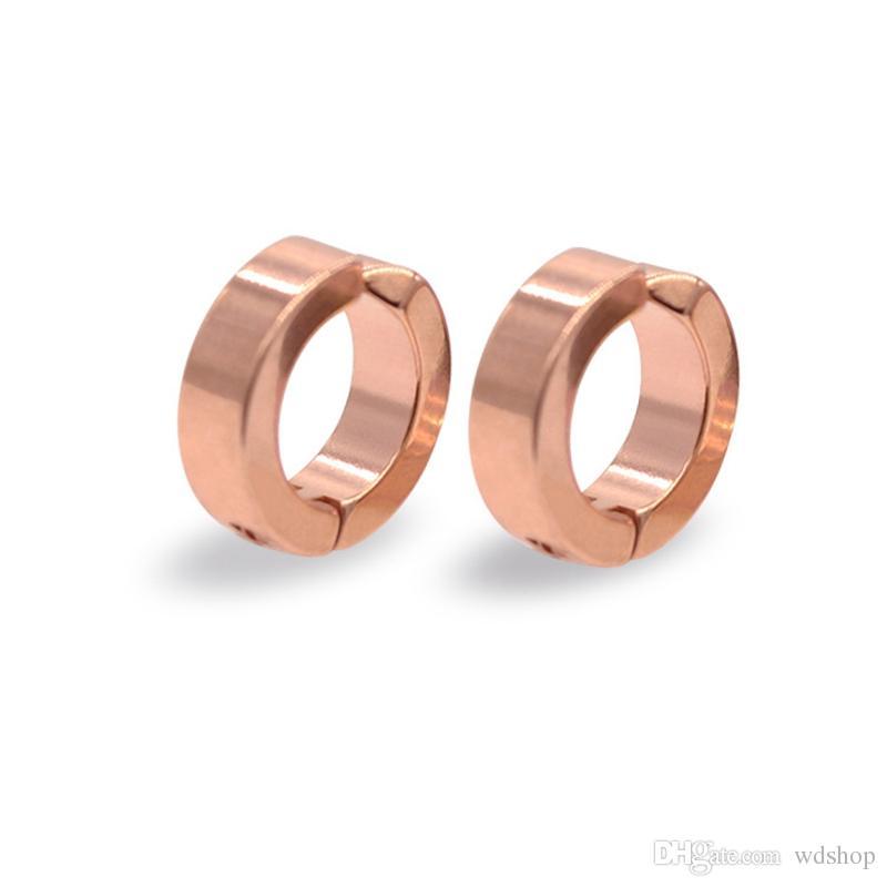 Unisex acciaio inossidabile falso piercing orecchini a bottone polsino non-piercing clip-on orecchini punk dilatazioni Falsas piercing