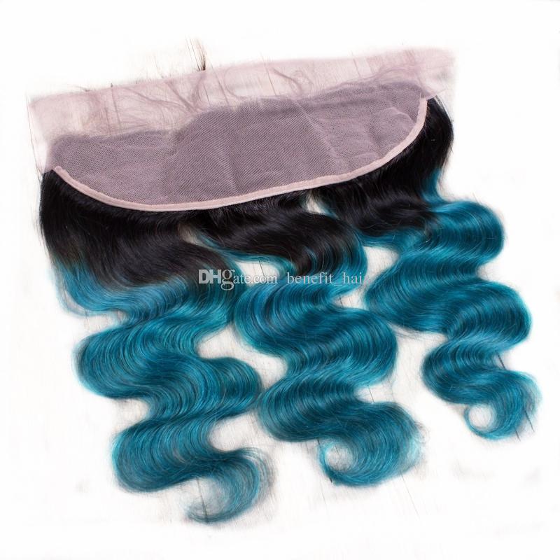 Ombre Cor 1B Azul 13x4 Lace Frontal Com Cabelo 3 Bundles Escuro Onda Do Corpo Da Raiz 1B Azul 3 Pacotes Com Laço Frontal