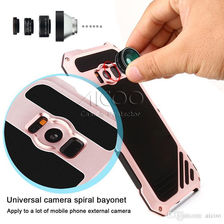 Wasserdicht stoßfest metall aluminium abdeckung fall für iphone x 8 7 plus samsung s9 s8 plus kamera objektiv fischauge weitwinkel abdeckung retailbox
