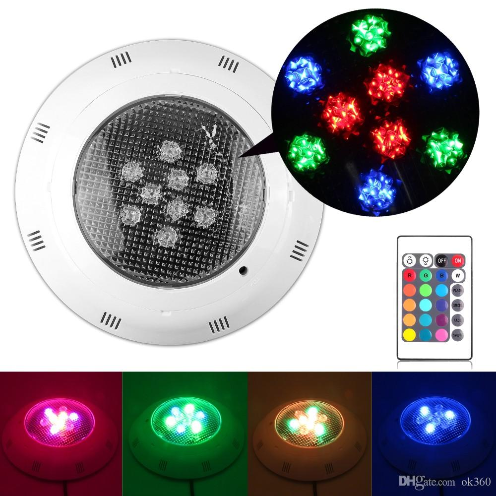 9W RGB Swimming Pool LED Light IP67 Underwater Spotlight Lamp with Remote Control Pond Lights 12V Lighting