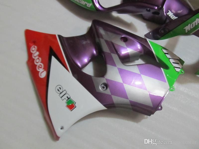 Juego de carenado para Kawasaki Ninja ZX6R 1998 1999 Carenados de motocicleta verde violeta Juego ZX6R 98 99 OT02