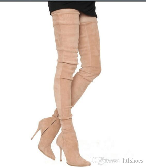 b1cff21cd6845e Acheter 2017 Européenne Élastique Stretch Tissu Cuisse Bottes Bottes Femmes  Hiver Chaussures Bout Pointu Feminina Bota Haut Talon Sur Les Bottes Au  Genou De ...